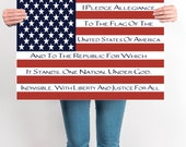 Pledge Of Allegiance, Patriotic Flag Art,7 x 5, 10 x 8, 14 x 11, 20 x 16, INSTANT DOWNLOAD, Pledge of Allegiance Flag Art, USA Flag