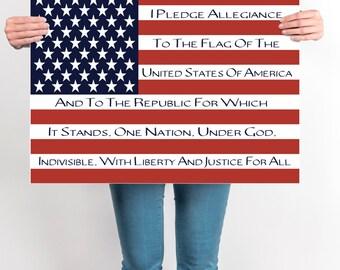 Pledge Of Allegiance, Patriotic Flag Art, Flag Art, DIGITAL, YOU PRINT, Pledge of Allegiance Flag Art, Homeschool Flag, Printable Flag