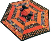 Hexagon Halloween Quilted Table Runner with Bats, Pumpkins, Spiders and Owls in Orange and Black