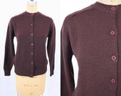 1960s cardigan vintage 60s brown button down acrylic sweater M