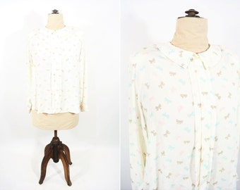"""1980s blouse vintage 80s novelty bow print peter pan collar blouse W 51"""""""