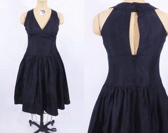 1980s taffeta dress | 80s black halter dress | vintage full skirt party dress | S