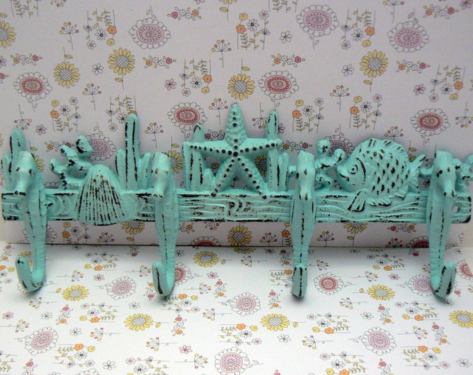 Seahorse Cast Iron Hook Reef Starfish Shell Blue Shabby Chic Cottage Chic Beach House Home Decor