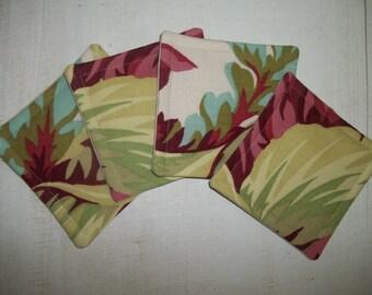 Fabric Coaster Set of 4 Retro Tropical Floral