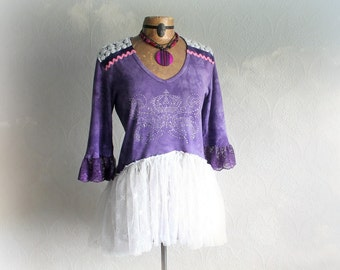 Shabby Lace Clothing Purple Up Cycled Top Frilly Tutu Women Boho Shirt Country Clothes Romantic Blouse Crystal Crown Bohemian Top L XL 'ANDI