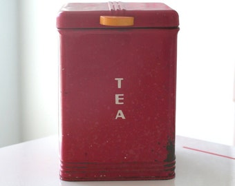 Red Kreamer Tea Canister Container