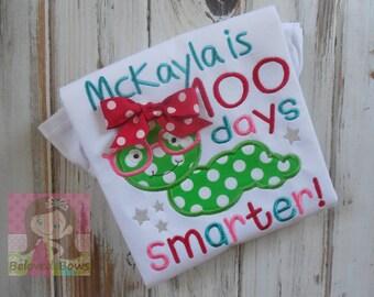 100 Days Smater Ruffle Shirt-100th Day of School--Book Worm Shirt