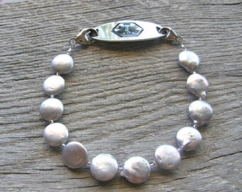 Light Grey Coin Pearl Medical ID Bracelet, Alert Bracelet, Silver or Stainless Clasp Replacement Bracelet