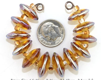 12 Gold and Amber Murano Glass lampwork disc beads - Made to Order