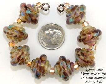 Handmade Lampwork Bead Set, Translucent Beige and Raku Murano Glass Baroque lampwork beads, Made to Order, beige glass bead, Bims Bangles