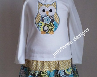 SALE Girls Embroidered Tee shirt Owl Skirt set size 3t  Ready To Ship