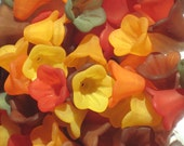 20 Acrylic Flower Beads Trumpet Petunia Flowers Harvest Mix