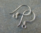 Sterling Silver French Hook Ear Wires With Coiled Detail-  Sterling Silver Findings- One Pair - ewfhc