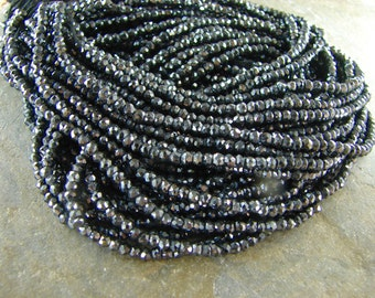 Gorgeous Tiny Black Spinel Beads - Tiny Faceted Gemstone Beads - One Full Strand - bd22