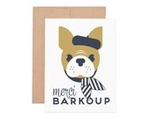 Merci Barkoup Letterpress Greeting Card - Thank You Card | French Bulldog | Thanks | Greeting Cards | Letterpress Cards