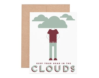 Head In The Clouds Letterpress Greeting Card - Encouragement Card | Graduation Card | Greeting Cards | Letterpress Cards