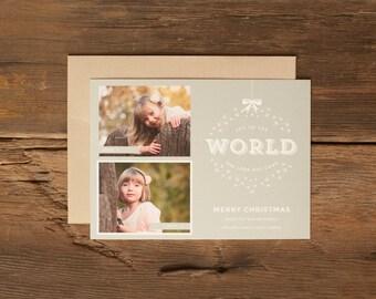 Custom Holiday Photo Cards - Personalized Christmas Card - Joy To The World