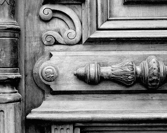 New York City Black White Photography, Architectural Art B&W Photography, Rustic Home Decor, NYC Photography, NYC Art, Wooden Door Print