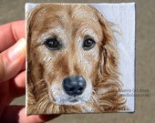 CUSTOM Pet Portrait Miniature Painting in OIL by Lara ACEO 3x3 Mini Tiny Dog Art