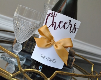 Wine Gift Tags, Hostess Gifts, Personalized Set of either 8 or 12