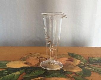 Bud Vase Blue Glass Vase Vintage Flower Pedestal Fluted Vase Gilt Gold Vine Spout