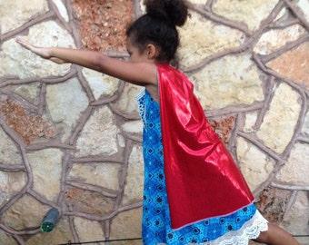 Shiny superhero cape - reversible with star