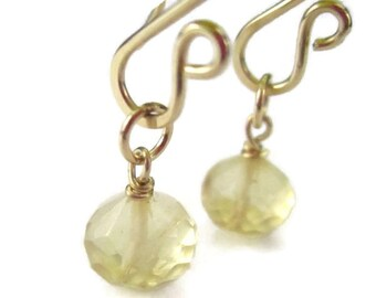 Citrine Earring Charms, Gold Filled, Wire Wrapped Yellow Gemstone, November Birthstone, Interchangeable Earrings