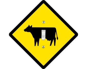 Cattle Crossing Sign Single Toggle Light Switch Plate Cover