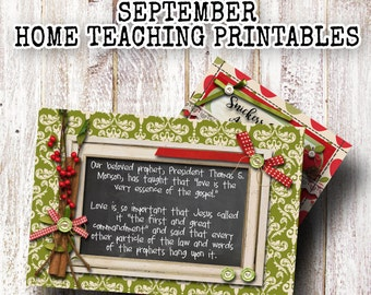 September 2016 LDS Home Teaching Printable, September Visiting Teaching Printable, LDS Printable Cards- 4x6- Instant download