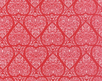 Red White Hearts Ever After Fabric - Moda - Deb Strain - 19742 16 - Valentines