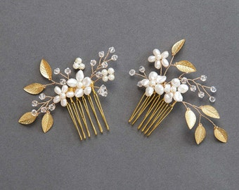 Wedding Hair Accessories | Gold Leaf Bridal Hair Comb | Freshwater Pearl and Crystal Flower Hair Pins [Phoebe Comb Set]