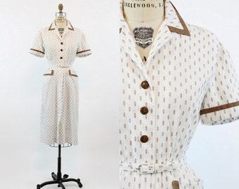 40s Dress Cotton Small / 1940s Vintage Button Down Day Dress / The Vivien Dress