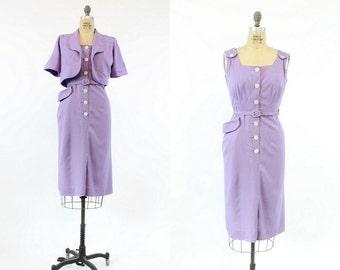 40s Dress Polka Dot Medium / 1940s Dress and Bolero  / Lavender Fields Dress