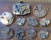 Vintage Antique Watch movements parts Steampunk - Scrapbooking Q8