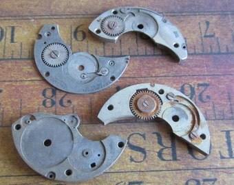Vintage metal pocket Watch plates   - Steampunk - Scrapbooking j2