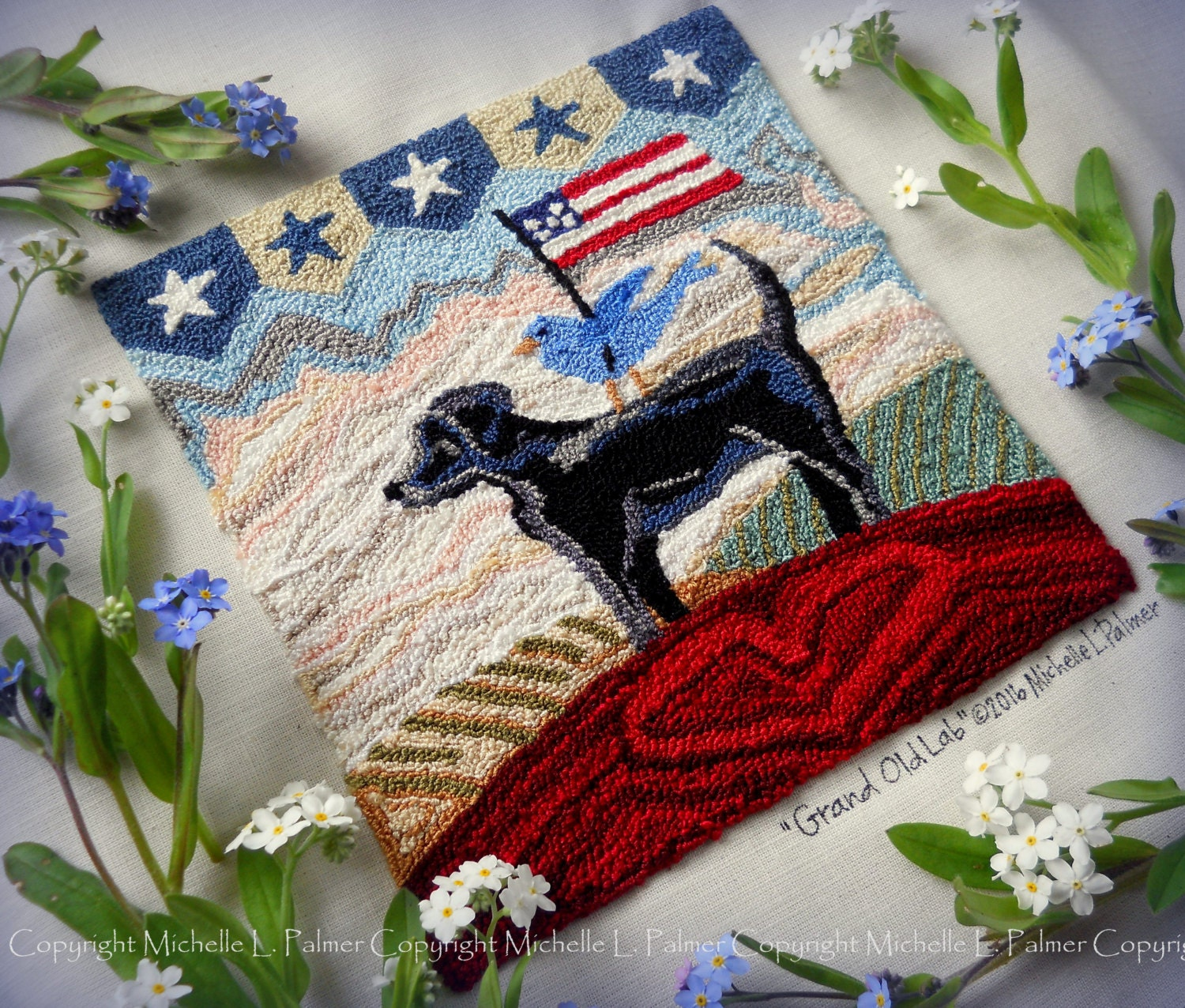 Rug Dogs Embroidery Designs: Grand Old Lab Patriotic Labrador Dog Punch Needle Embroidery