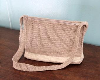 Vintage beige handbag,beige crochet handbag,beige handbag,crochet handbag,vintage handbag,vintage crochet bag,