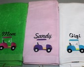 Embroidered Personlized HEMMED Golf Towel with Grommet- GOLF CART
