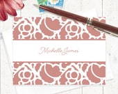 personalized note cards stationery set - STENCIL BORDER - set of 8 folded note cards - stationary