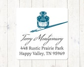 personalized return address LABEL - vintage PEN and INKWELL - sticker - square label - set of 48 labels
