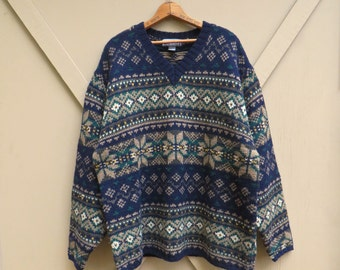 90s vintage Oversized Nordic Patterned Wool Sweater / FogCutter / Woodland Oversized Sweater