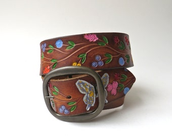70s vintage Boho Hand Tooled and Painted Butterflies and Flowers Saddle Brown Leather Belt