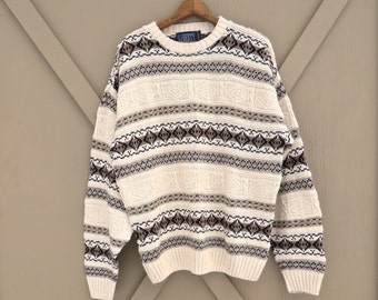 90s vintage Geometric Patterned Ivory and Brown Knit Cotton Sweater / Oversized Ski Lodge Sweater / Liberty