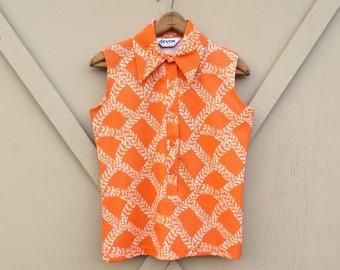 70s vintage Vibrant Orange Patterned Double Knit Polyester Sleeveless Blouse / Devon