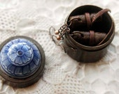 Whisper - Miniature Leather Book-Earrings, Tea Stained Pages, Tiny Trinket Box, OOAK