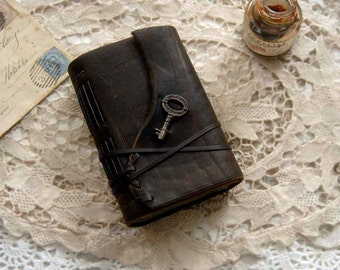 Rusted Blues - Dark Brown Leather Journal, Rusted Blue Pages, Small Vintage Key - OOAK