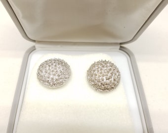 Round Spike Shiny Silver Tone Foster Vintage Cufflinks Cuff Links