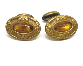 Fantastic Cufflinks Gold Tone with Topaz Color Stones Vintage Cuff Links