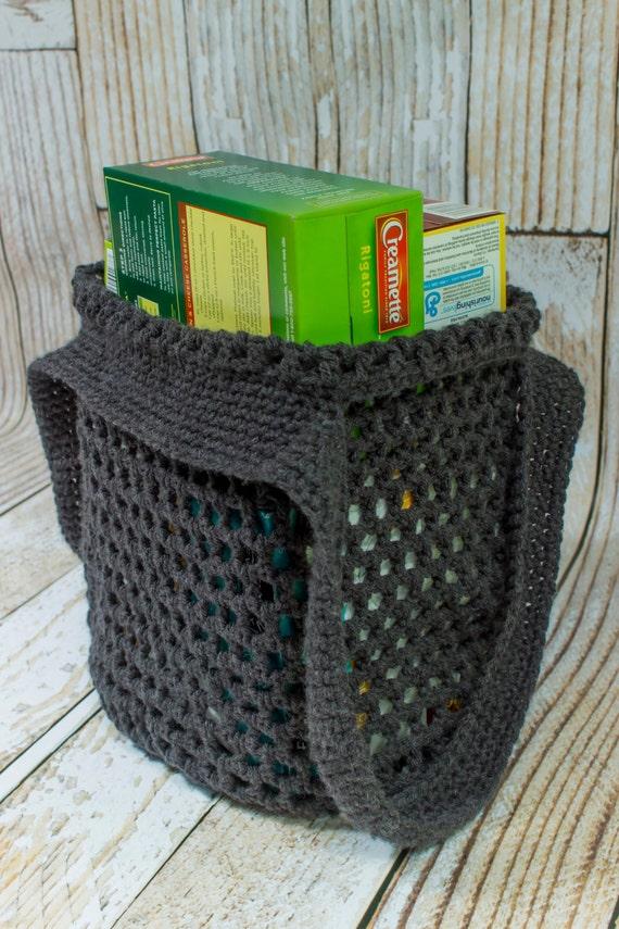 reusable grocery bag charcoal grey eco by jenstangledthreads. Black Bedroom Furniture Sets. Home Design Ideas