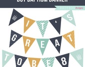 LDS Boy Baptism Banner Printable Banner - It's Great to Be 8 Printable Banner - Navy Blue, Yellow, Teal - Instant Download